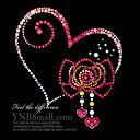 【スパングル】 スパンコールモチーフ (ピンクハートとリボンの飾りモチーフ) アイロン接着可 Lサイズ
