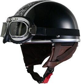 リード工業 ジェットヘルメット Street Alice QH-4 ブラック/ハート レディースフリーサイズ (57-58cm未満)