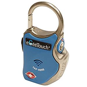 山城(yamashiro) eGeeTouch タッチキー式南京錠 スマートトラベルパドロック (eGeeTouch Smart Padlock ) スパイラルワイヤー同梱特別バッケージ ブルー GT1000