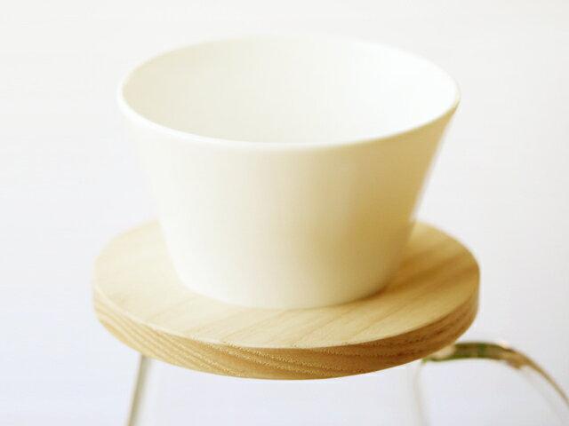 トーチ(TORCH)マウンテンドリッパー ホワイト/白 1〜2人用|中林孝之|北欧|コーヒー|珈琲|抽出器具|コーヒー器具|天然木|ウッド|木製|ホワイトアッシュ|無垢|磁器|美濃焼|白磁|日本製|国産|Mountain coffee dripper|ドーナツドリッパー|2人用