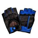 【送料無料】カカザン(CACAZAN)ドライビンググローブ DDR-071R ブラック × ブルー|メンズ グローブ レザー 革 ドライビング フィンガーレスグローブ 指なし手袋 フィンガーレス レー