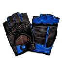 【送料無料】カカザン(CACAZAN)ドライビンググローブDDR-071Rブラック×ブルー(メンズグローブバイクグローブバイク手袋レザー革ドライビングドライビング父バイク用グローブバイク用品フィンガーレスグローブ指なし手袋指なしグローブ)