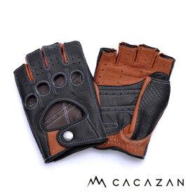 【送料無料】カカザン ドライビンググローブ CACAZAN DDR-071R ブラック キャラメル