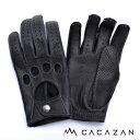 【送料無料】カカザン ドライビンググローブ CACAZAN DDR-060 ブラック シルバーステッチ