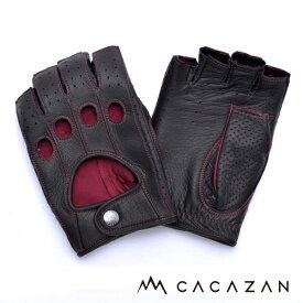 【送料無料】カカザン ドライビンググローブ CACAZAN DDR-070 ブラック レッドステッチ
