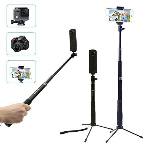 【あす楽】アクションカメラ スマートフォン 対応 4Way自撮り棒 自由伸縮 三脚 セルカ棒 Gopro SJCAM iphone android セルカ棒 セルフィースティック GoPro アクセサリー デジカメ スマホ 360カメラ 三脚 ゴープロ 自撮り棒