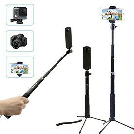 4way 自撮り棒 スマートフォン 対応 多機能 自由伸縮 三脚 セルカ棒 Gopro SJCAM iphone android セルカ棒 セルフィースティック GoPro アクセサリー デジカメ スマホ 360カメラ 三脚 ゴープロ gopro HERO7 6 5 4 black