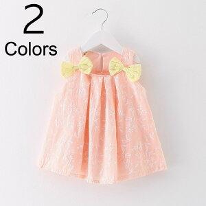 送料無料 ワンピース ノースリーブ リボン 刺繍 フレアスカート ふんわりスカート 子供 キッズ ジュニア 女の子 女児 80cm 90cm 100cm