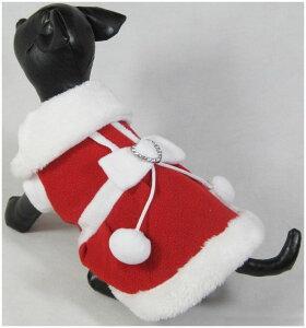 送料無料 ペット用 犬用 洋服 ワンピース スカート コート 半袖 スナップボタン サンタクロース コスチューム コスプレ なりきり 襟付き ポンポン ボンボン ハート リボン クリスマス イベン