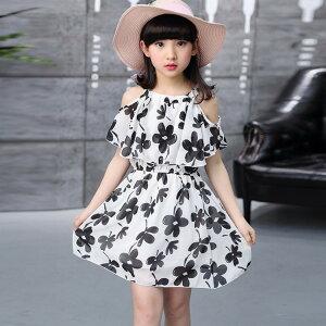 送料無料 ワンピース サマードレス トップス 女の子 子供服 キッズウェア 半袖 ひざ丈 ミディ丈 肩出し 夏服 花柄 ブラック ホワイト 可愛い おしゃれ ファッション