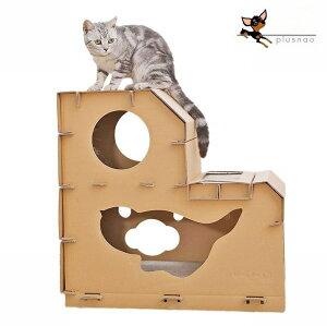 送料無料 猫用 爪とぎ ねこ ネコ ペット用品 爪研ぎ ダンボールハウス 二層 階段式 つめとぎ 段ボール 爪みがき 猫 ダンボール おもちゃ ストレス解消 ガリガリ ネコちゃん 猫用品 ネコ用品