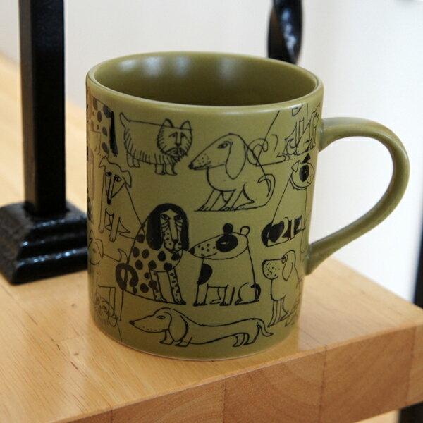 リサラーソン 陶器のマグカップ スケッチいぬたちパターン/オリーブ【店頭受取も可 吹田】