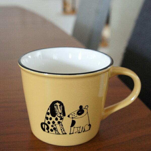 リサラーソン 陶器のマグカップ スケッチいぬたち/キャラメル【店頭受取も可 吹田】