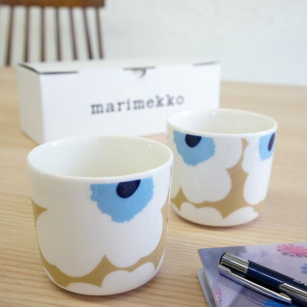 マリメッコ marimekko コーヒーカップ2個セット(ラテマグ) UNIKKO/WHITE&ECRU