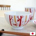 ムーミン 陶器(波佐見焼)の飯椀 茶碗 ライスボウル ムーミンもりのなか レッド【店頭受取も可 吹田】