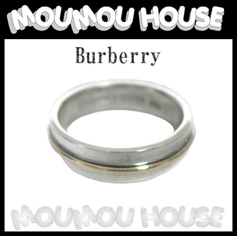 美品■Burberry■バーバリー■シルバーリング■指輪■シルバー×K18■7号■レディース♪