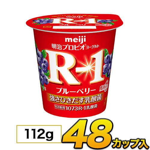 明治 R-1 ヨーグルト ブルーベリー 脂肪0 カップ 48個入り 112g 食べるヨーグルト プロビオヨーグルト ヨーグルト食品 乳酸菌食品 送料無料 あす楽 クール便