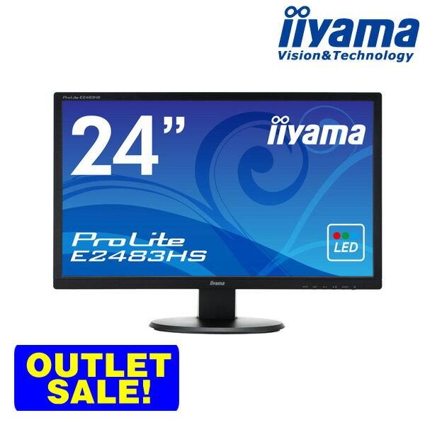 iiyama ProLite E2483HS-B1 24型 フルHD 液晶ディスプレイ 【1920×1080/ワイド/ブルーライトカット/応答速度2ms(GtoG)/5000000:1(最大)】 <アウトレット>