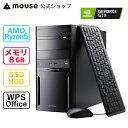 mouse DT6-G-MA AMD Ryzen 5 3500 8GB メモリ 256GB M.2 SSD 1TB HDD GeForce GTX1650 SUPER DVDドライブ デスクトッ…