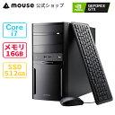 【旧製品】mouse DT7-G-MA Core i7-9700 16GB メモリ 512GB M.2 SSD GeForce GTX1650 DVDドライブ デスクトップ パソ…