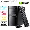【10/30は楽天カード&エントリー類合わせてポイント最大25倍】mouse DT7-G-MA Core i7-9700 16GB メモリ 512GB M.2 SSD 1TB HDD GeForce GTX1650 SUPER DVDドライブ デスクトップ パソコン Windows10 WPS Office付き mouse マウスコンピューター PC BTO 新品