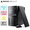mouse DT9-Z490-MA (第10世代CPU) Core i9-10900K 16GB メモリ 256GB M.2 SSD 1TB HDD DVDドライブ 無線LAN デスクト…