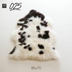 ジェイコブ シープスキン ラグ 1匹サイズ #025 JACOB 英国製 ロングヘアー 長毛タイプ UK イギリス 天然模様 限定品 無垢 シングル ヤコブ ジャコブ ムートン SPOTTY