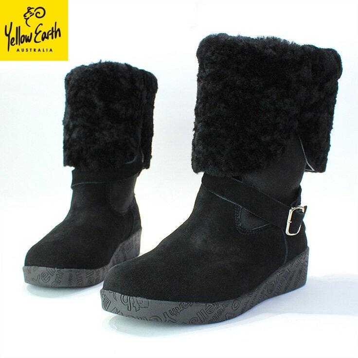Yellow Earth(イエローアース) ムートンブーツ Alive Boot 送料無料 オーストラリア産シープ 本革 レディース ブラック black [22.5cm〜24.5cm]Australian Sheepskin Ugg Boots