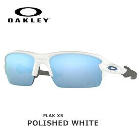 オークリー サングラス 偏光 フラック OAKLEY FLAK XS フレーム:Polished White レンズ:Prizm Deep Water Polarized oky-sun