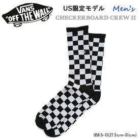 バンズ ヴァンズ US限定モデル CHECKERBOARD CREW BLACK/WHT CHECK US9.5-13 ソックス 靴下 あす楽