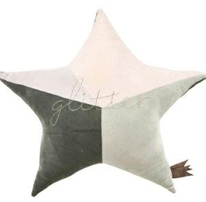 ☆新着☆スタークッション【グリーン】クッションパッチワーク刺繍星すべすべもちもちふわふわかわいい子ども子ども部屋インテリアソファギフトプレゼント枕抱き枕ピロー3色ピンクパープル