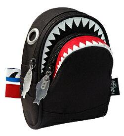 シャークポーチ(black)【MORN CREATIONS】カラーバリエーション サメ ウエストポーチ ショルダー カラビナ 手作り かっこいい ダブルジッパー 動物救護活動 スマホ 収納 インスタ