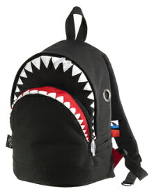 【MORN CREATIONS】シャークバックパック(black/M)2色 モーンクリエーションズ 各種サイズ リュックサック 11L たっぷり収納 多ポケット 手作り サメ ダブルジッパー 撥水加工 動物救護活動 インスタ
