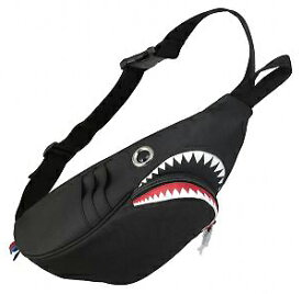 【MORN CREATIONS】シャークウエストポーチ(black)ボディバッグ モーンクリエーションズ サメ 鮫 ジョーズ リュック ポーチ サイズ違い カラー2色 お洒落 かわいい ファッション 黒 キャラグッズ
