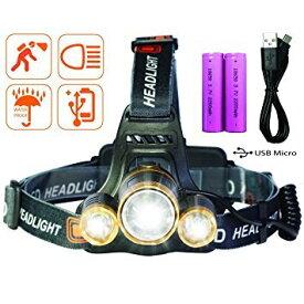 LEDヘッドライト USB充電式 ヘッドランプ 防水式 登山 夜釣り 夜間作業 自転車 キャンプ アウトドア 18650電池2本付属 防災用 Tinova