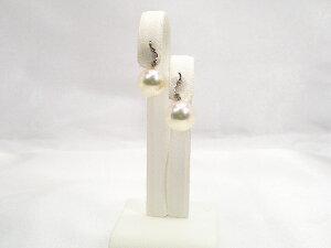 アコヤ真珠ピアス7.5mmD-0.03ctプラチナ10P05Dec15