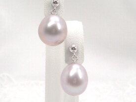 つゆ型のぷっくり感が可愛い!WG大粒淡水真珠ピアスブラ(ラベンダーカラーorホワイト)   ギフト プレゼント