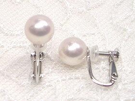 驚き、花珠級のテリ!!K14WGアコヤ真珠花珠落ちイヤリング7.0mm