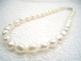 【人気につき再入荷!】一粒一粒が輝くようなテリ!SV大粒淡水真珠バロックネックレス   ギフト プレゼント