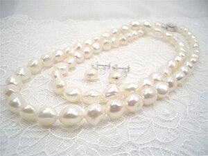 一粒一粒が輝くようなテリ!SV大粒淡水真珠セミロングバロックネックレスセット(A)イヤリング(B)ピアス   ギフト プレゼント