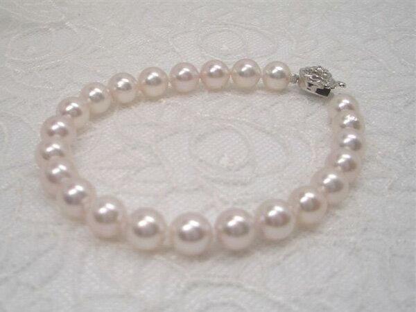 ほんのりピンクの優しい一品!svアコヤ真珠ブレスレットA