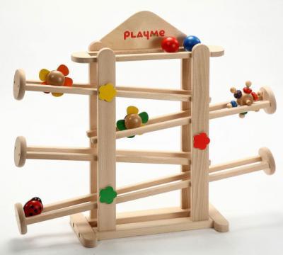 【さらにカラフルこまプレゼント】プレイミー フラワーガーデン 知育玩具 木のおもちゃ スロープ 出産祝い