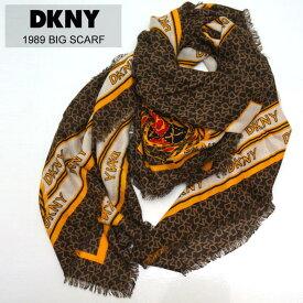 ダナキャラン DKNY スカーフ 大判 ストール 1989 BIG SCARF ブラウン BROWN 茶色 マフラー