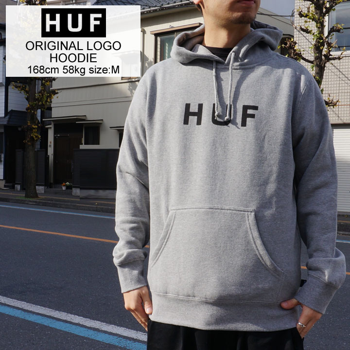 HUF ハフ パーカー ORIGINAL LOGO HOOD フーディー グレー 灰色
