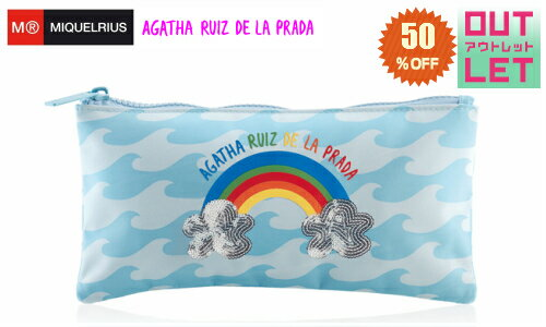 【アウトレット】50%オフ! メール便対応! 汚れあり ご使用上は問題ございません! MIQUELRIUS ミケルリウス フラットポーチ Agatha Ruiz De La Prada アガタ WAVES ウェイブス