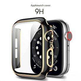 【 Apple Watch 硬度9H ガラス ケース ツートン カラー 】アップルウォッチ カバー 保護ケース AppleWatch Series 6 / se / 5 / 4 / 3 / 2 / 1 対応 ( 38mm 40mm 42mm 44mm ) 薄い 軽い 防塵 保護 耐衝撃 クリアな画面 内側ドット加工