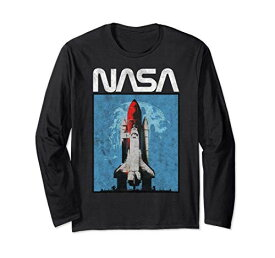 NASA Logo Shuttle Rocket Ship Poster Style 長袖Tシャツ