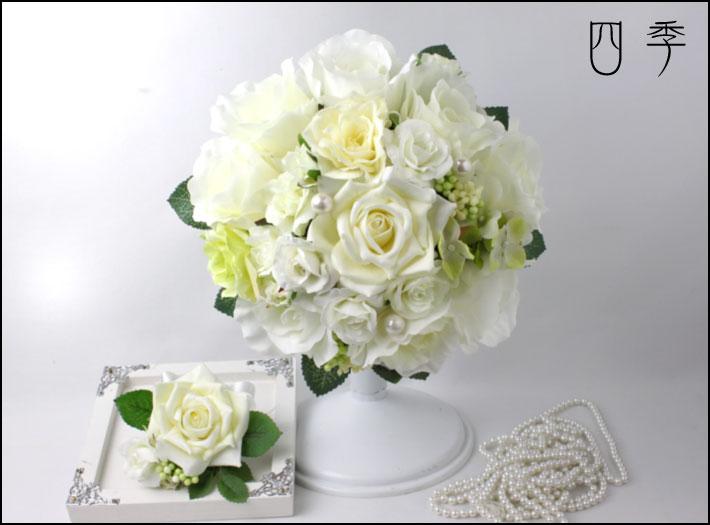 ブーケ*ホワイト*造花*ウェディングブーケ*アリス*ラウンドブーケ*ブトニア*ブライダルブーケ【送料無料】B_0105