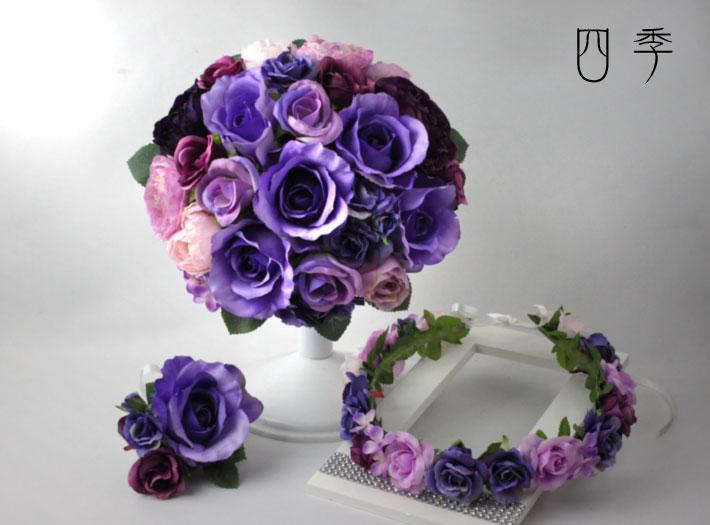 ブーケ*造花*ウェディングブーケ*紫*パープル*9857*ラウンド*花冠*前撮り【送料無料】B_0131