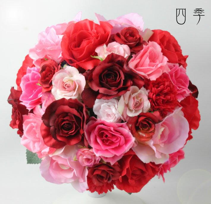 ブーケ*造花*ラウンドブーケ*7776*ピンク&レッド*ミックス*結婚式♪【送料無料】B_0143_02